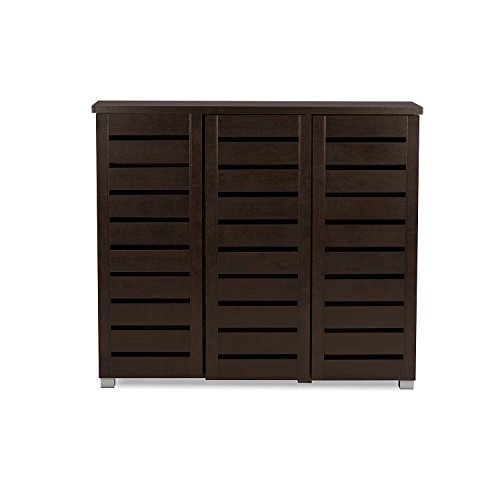 Baxton Studio Wholesale Interiors Adalwin Modern and Contemporary 3-Door Dark Brown Wooden Entryway Shoes Storage Cabinet