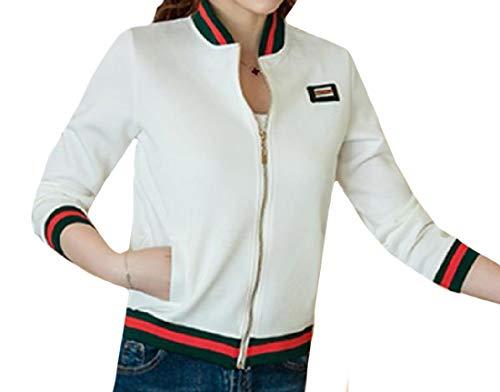 RkBaoye Women's Wild Plus Size Zip-Front Baseball Stretchy Sweatsuit White