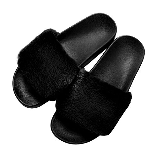 Womens Faux Fur Flat Slide Sandals Arch Support Fluffy Plush Slip on Shoes Indoor House Slippers Non Slip Black