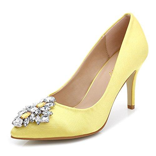 Aisun Womens Elegante Strass Low Cut Scarpe A Punta Tacco Alto Slip On Talloni Pompe Partito Scarpe A Spillo Sposa Giallo
