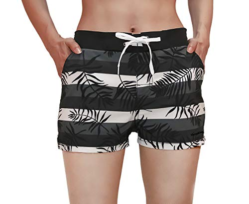 Meegsking Women Quick Dry Swimwear Trunks Sports Board Shorts with Soft Briefs Inner Lining