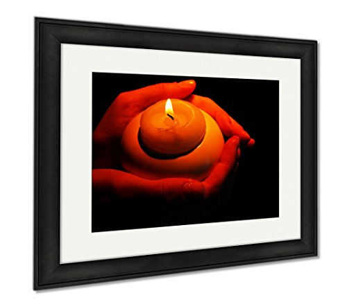 Ashley Framed Prints Burning Candle In Hands Isolated On Black, Modern Room Accent Piece, Color, 34x40 (frame size), Black Frame, AG6514321 by Ashley Framed Prints