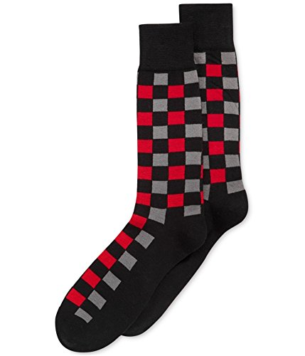 Alfani Mens Checkered Crew Casual Socks Black ()