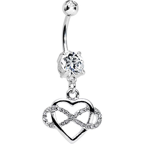 Heart Double Dangle (Body Candy Clear Double Infinite Love Infinity Heart Dangle Belly Ring)