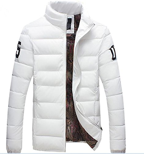 YH Men's Slim Cotton Jacket Winter Outwear White XXXL by Yinhan