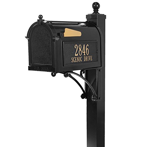 Whitehall Custom Premium Capitol Mailbox and Deluxe Side Mount Post Package - Black Personalized in Goldtone (Mailbox Package Deluxe Whitehall)