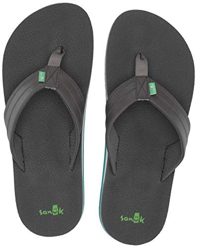Sanuk Flops Mens Flip - Sanuk Men's Land Shark Flip-Flop, Black/Charcoal, 10 M US