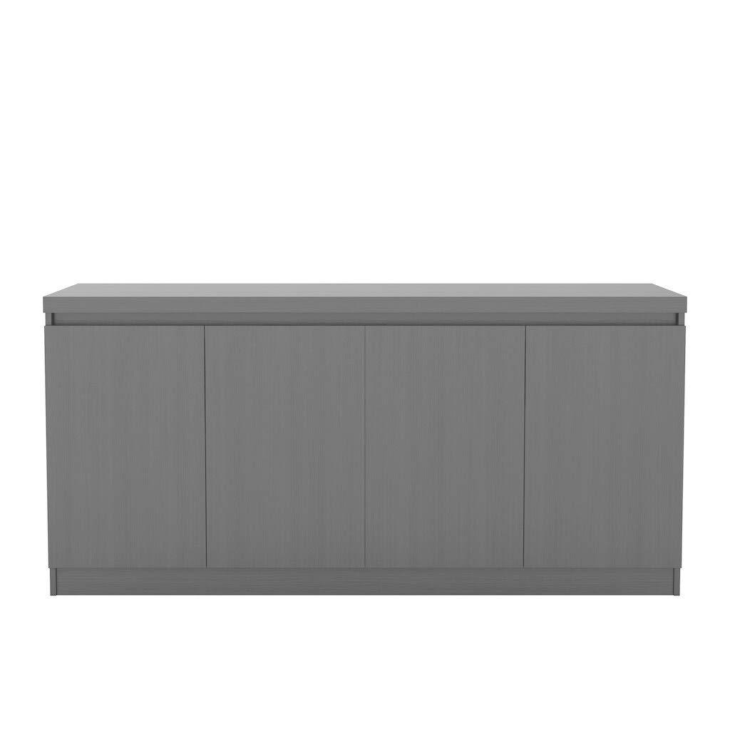 6 Shelf Buffet Cabinet in Black Matte Black Manhattan Comfort Viennese 62.99 in