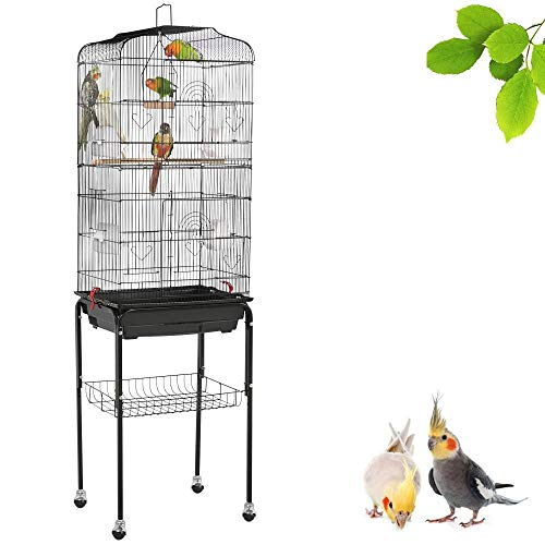 Yaheetech 59.3-inch Rolling Bird Cage for Small Parrots Cockatiels Sun Parakeets Conure Finches Canary Budgies Lovebirds Medium Size Travel Bird Cage with Removable Stand