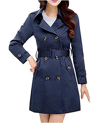 Gabardina Hqclothingbox para mujer Abrigo Azul f55qF4r