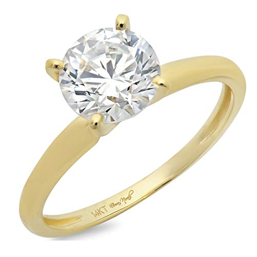3.0 ct Brilliant Round Cut Solitaire Highest Quality Lab Created White Sapphire Ideal VVS1 D 4-Prong Engagement Wedding Bridal Promise Anniversary Ring in Solid Real 14k Yellow Gold for Women, SZ 9 ()