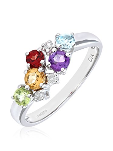 Revoni - Bague en or blanc 9 carats, pierres multicolores et diamants