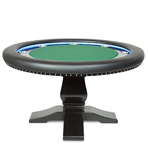 Ginza LED Poker Table for 8 Players with Green Speed Cloth Playing Surface, 55-Inch Round
