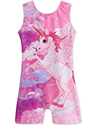 Leotards for Girls Gymnastics with Short Biketards Sparkle Unicorn and Mermaid