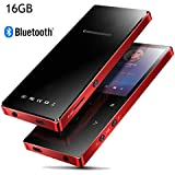 MP3 Player with Bluetooth 4.2, Lonve 16GB Portable Lossless Sound Metal Music Player with FM Radio Voice Recorder Metal Touch Button Music Speaker, Supports up to 128GB Red