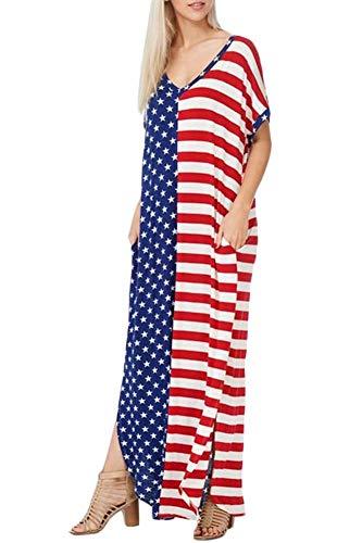- Spadehill July 4th Women's Flowy V Neck Summer Short Sleeve American Flag Beach Maxi Dress with Pockets M