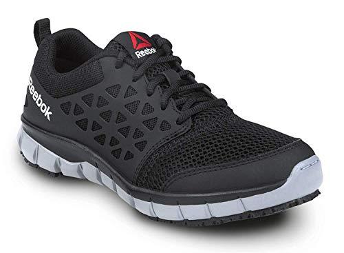 Reebok Women's Slip Resistant Soft Toe Low Athletic (6 M, Black/Grey)