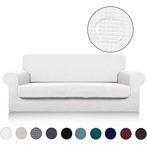 Loveseat Cover with Separate Seat Cushion Cover(2 Pieces Set) - Water Repellent,Knitted Jacquard,High Stretch - Living Room Couch Slipcover/Protector/Shield for Dog Cat Pets(2 Seater Sofa,White)