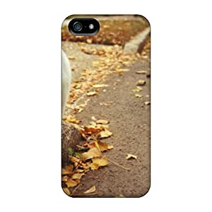 AnnetteL Iphone 5/5s Hybrid Tpu Case Cover Silicon Bumper Leaves Cat Paws
