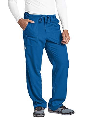 (Grey's Anatomy Signature Men's Big 0203  6 Pocket Zip Fly Drawstring Scrub Pant, New Royal, Large)
