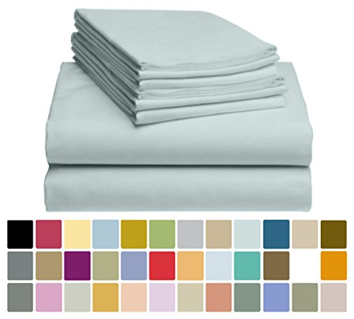 6 PC LuxClub Bamboo Sheet Set w/ 18 inch Deep Pockets - Eco Friendly, Wrinkle Free, Hypoallergentic, Antibacterial, Fade Resistant, Silky, Stronger & Softer than Cotton - Light Teal Queen - Bamboo Set Bedroom Set