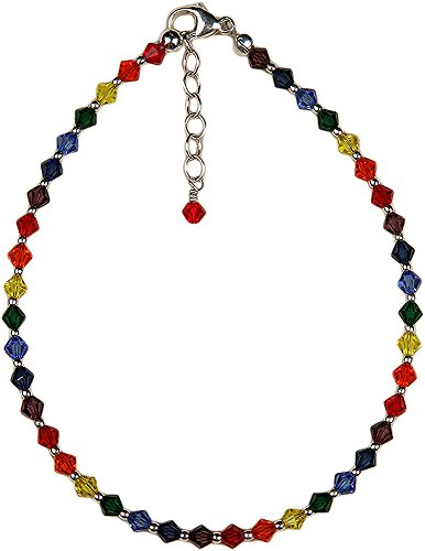 Anklet - Chakra Colors, Crystal Beads with Chain Extension