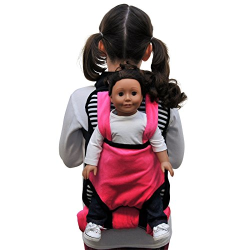 The Queen's Treasures Pink, White & Black Soft Baby Doll Backpack Carrier and Sleeping Bag for 18 inch and 15 inch Dolls. Fits American Girl Doll & Bitty Babies