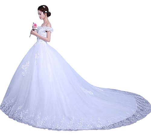 BOwith A Line Women Court Train Off-Shoulder Lace Wedding Dress Style 1 US 8