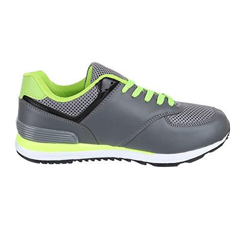 Ital-Design - Zapatillas de Material Sintético para hombre Gris - Grau Grün