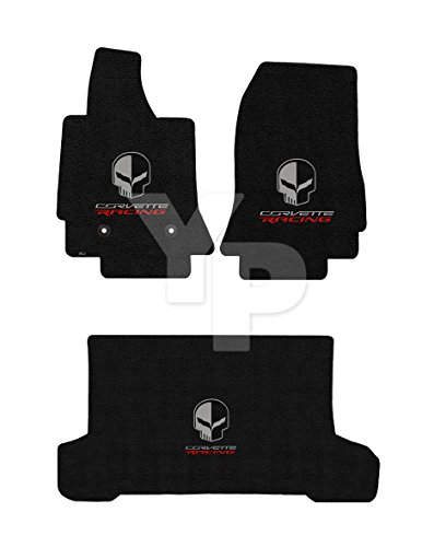 2014-2018 C7 Convertible Jet Black Floor & Rear Mats - Jake Skull & Corvette Racing Logos