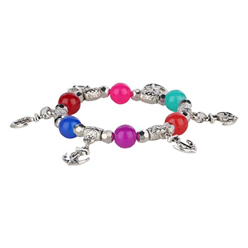 Bracelet Silver Beaded Stretch Plated (Efulgenz Handmade Multicolor Stone (8 mm) Beaded Stretch Hanging Silver Plated Anchor Charm Bracelet for Women and Girls)