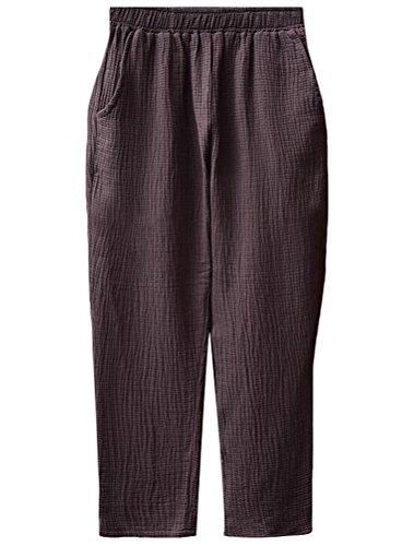 MatchLife Femme Nouveau Pantalon Emaille Coton-Lin Doux Sarouel Cafe fonce