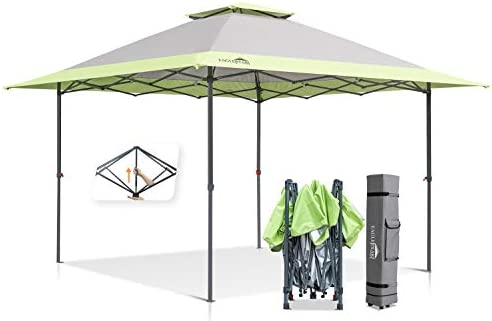 EAGLE PEAK 13 x 13 Straight Leg Pop Up Canopy Tent Instant Outdoor Canopy Easy Set-up Folding Shelter w Auto Extending Eaves 169 Square Feet of Shade Gray Green