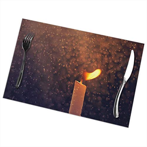 - Jaylon Rectangular Placemat for Dining Table Candle Fire Print Table Mat Heat-Resistant Stain Resistant Anti-Skid Table Decor for Dining Room Kitchen Outdoor Easy to Clean 12x18 Inch Set of 6