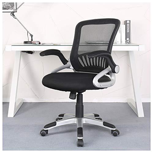 Office Chair with Adjustable Armrest Lumbar Support Headrest Swivel Task Desk Chair Ergonomic Computer Chair (Black Slim) ()