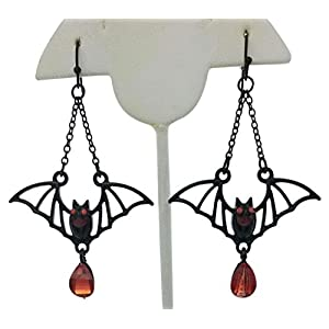 Black Bats with Red Crystal Halloween Earrings | Cool Studded Bats Web with Crystal Drop Dangle Jewelry