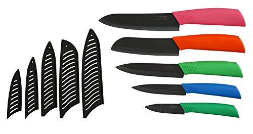 Melange 11-Piece Ceramic Knife Set with Multicolor Handle and Black Blade by Melange