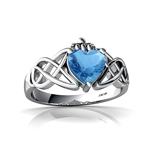 14kt White Gold Blue Topaz 6mm Heart Claddagh Celtic Knot Ring - Size 7