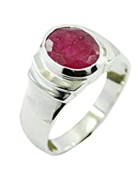 CaratYogi Natural Indian Ruby 925 Sterling Silver Ring Oval Birthstone Bezel Setting Finger Size 5 to 13