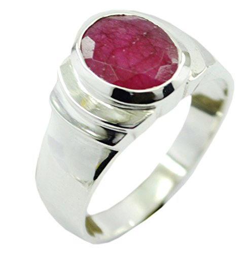 an Ruby Ring Birthstone 925 Silver Oval Shape Chakra Healing Size 5,6,7,8,9,10,11,12 (Oval Shape Ruby Ring)