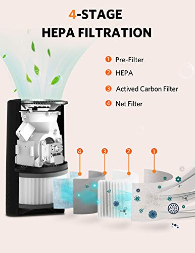 Bulex HEPA Air Purifier for Home, Large Room Up to 202ft², H13 True HEPA Filter for 99.97% Purification, 4-Stage Filtration, Timing Function, Sleep Mode, Night Light, Desktop Filtration for Bedroom Kid's Room Office, Black