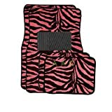 zebra pink car accessories - BDK A Set of 4 Universal Fit Animal Print Carpet Floor Mats for Cars / Truck / SUV - Pink
