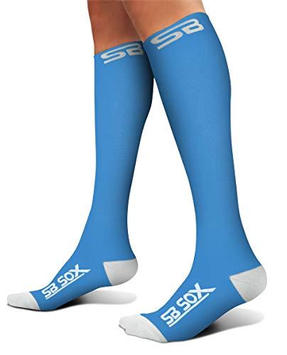 SB SOX Compression Socks (20-30mmHg) for Men & Women - Best Stockings for Running, Medical, Athletic, Edema, Diabetic, Varicose Veins, Travel, Pregnancy, Shin Splints. (Blue/White, Large)