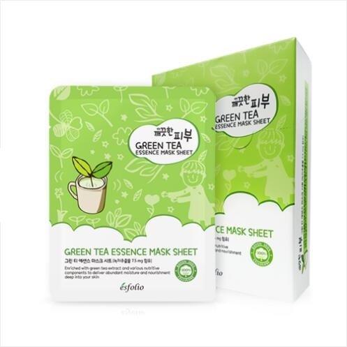Esfolio Pure Skin Essence Facial Mask Sheet Hydration Healing Anti-Wrinkles Green Tea (Pack of 10) - Green Tea Wrinkles