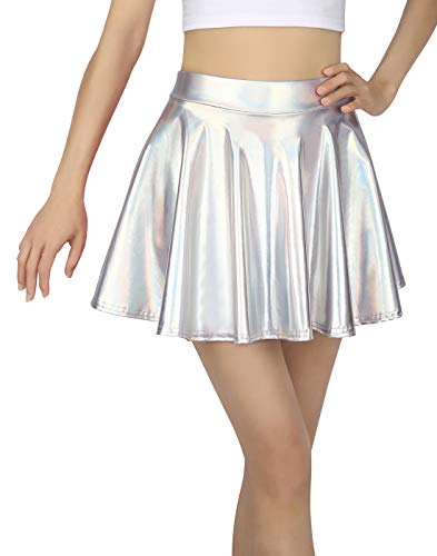 HDE Girl's Metallic Skater Skort Dance Athletic Shiny Holographic Scooter Skirt -