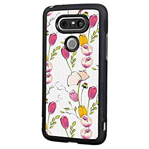 Case TPU+PC Compatible for LG G5 (2016) [5.3in] Colorful Tulips and Poppy Flowers Romantic Arrangement Valentines Day Themed Illustration Multicolor 77