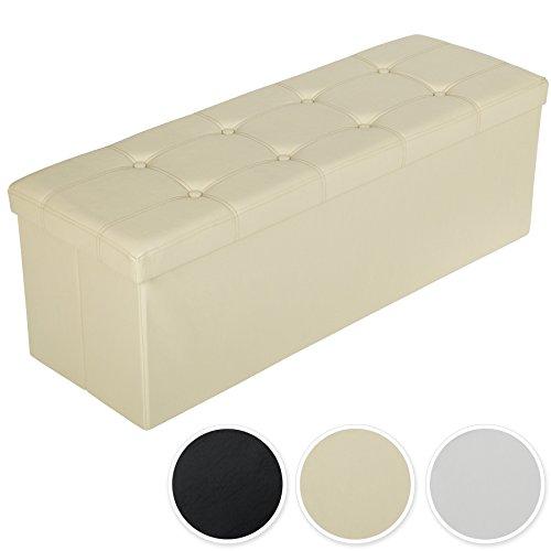 TecTake 110x38x38 cm Faltbarer Sitzhocker Aufbewahrungsbox Sitzwürfel mit Stauraum - diverse Farben - (Beige   Nr. 401824)
