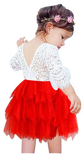 2Bunnies Girl Beaded Peony Lace Back A-Line Tiered Tutu Tulle Flower Girl Dress (Red Bell Sleeve, 6)
