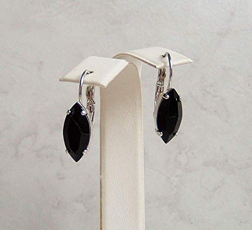 Black Marquise Crystal Drop Leverback Earrings Simulated Onyx December Mystical Birthstone Gift Idea - Onyx Faux Oval