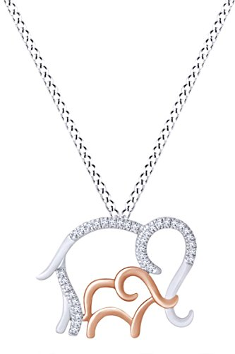 Mothers Day Jewelry Gifts White Natural Diamond Mom & Child Elephant Pendant Necklace in Two Tone Sterling Silver (0.01 Cttw) - Two Elephant Tone